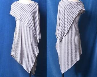 Free Shipping SALE Size XL Nile Garden - asymmetrical cotton tunic deconstructed boho tunic dress extravagant dress / grey t shirt  (Y19b6)