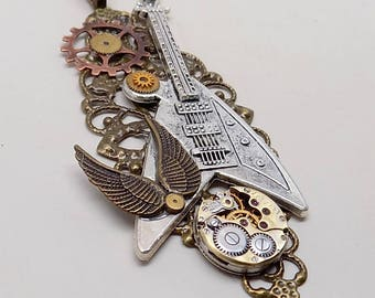 Steampunk jewelry large guitar and angel wings necklace pendant.