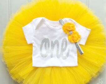 Yellow First Birthday Outfit Girl, Baby Tutu Dress Set, Baby Headband, Baby Girl Tulle Skirt Set 1st Birthday Outfit Girl, Cake Smash Outfit
