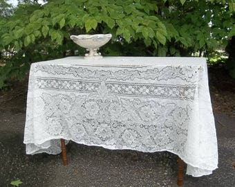 Vintage Cotton Lace Tablecloth 60 x 88 White Lace Table Cloth Overlay Wedding Decorations Table Decor French Country Cottage