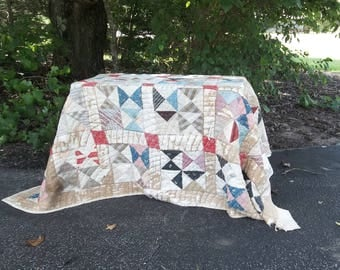 Vintage Quilt Handmade Pieced Quilt Antique Quilt 70x80 Bedspread Throw Primitive Bedding Prairie Farmhouse French Country 68 x 78