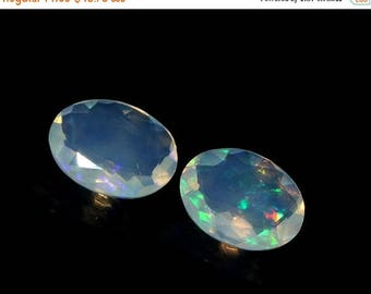 50% Off Sale 2 Pcs 9x7 mm 2.55 Ctw AAA Natural Multi Color Play Ethiopian Welo Fire Opal Faceted Oval Cut Stone, Loose Opal Gemstone OPS262