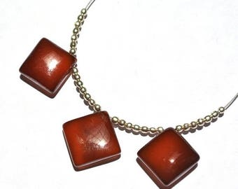 50% Off Sale 3Pcs Finest Quality Brown Banded Agate Smooth Square Briolettes, Size 14mm SKU180