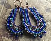Cobalt Beaded Copper Earrings