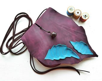 ARRIETTY Small leather messenger bag, Fairytale inspired #3385 Damson, Deep Sky