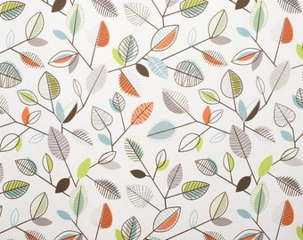 Modern Leaves Valance - Covington Carson Fiesta Fabric - Colors include orange, white, blue, green