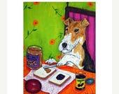 20% off storewide Fox Terrier Making a Peanut Butter and Jelly Sandwich Dog Art Print  JSCHMETZ modern abstract folk pop art AMERICAN ART gi