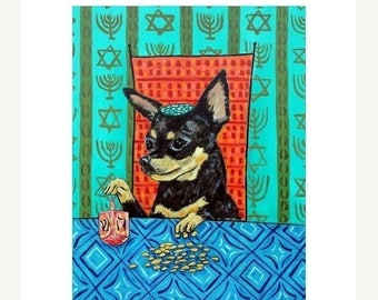 20 % off storewide Chihuahua - dog art, print, dreidle, hanukah, PRINT, chihuahua art, chiahuahua print, modern dog art