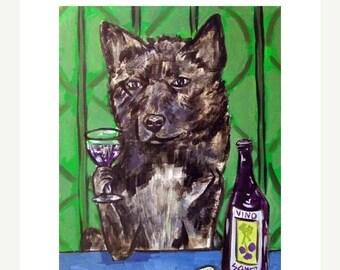 20 % off storewide Akita at the Wine Bar Dog Art Print  JSCHMETZ modern abstract folk pop art AMERICAN ART gift