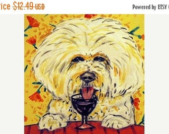 20 % off storewide Bichon Frise at the Wine Bar Dog Art Tile Coaster Gift