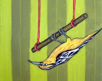 20 % off storewide Oriole on the Trapeze Bird Art Print   JSCHMETZ modern abstract folk pop art gift