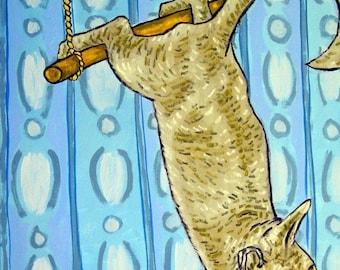 20% off storewide Gray Cat on a Trapeze  Art Print  JSCHMETZ modern abstract folk pop art gift