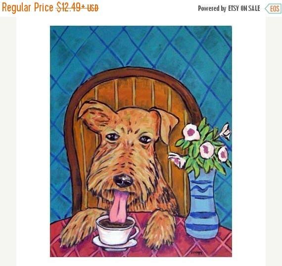20 % off storewide Airedale Terrier at the Coffee Shop Dog art Print  JSCHMETZ modern abstract FOLK pop art american ART