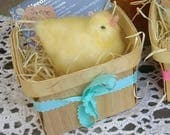 Just Born Fluffy Yellow Chick a Felted Wool Peep in a Wooden Berry Basket