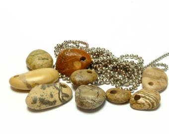 Beach Sea Stones AMAZON Spotted Jungle Pebbles Hand Drilled River Rocks Jewelry Making Beads Lake Pebbles Stone diy Fossils