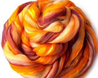 Superfine Merino Mulberry Silk Rambouillet 60/20/20 Roving Custom Blend, Fushimi Shrine, 5 oz.