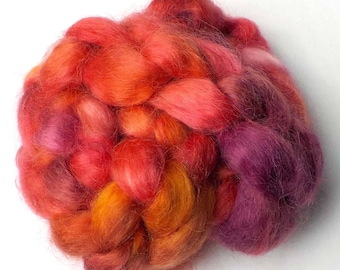 Roving Kid Mohair Combed Top Hand Dyed - Hot Hibiscus, 5.6 oz.