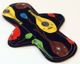 ORGANIC Reusable Cloth Menstrual pad- 8 inch LIGHT flow pantyliner-bamboo core- fleece backed - quilter's cotton top in Minstrel