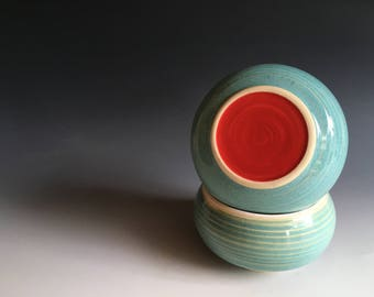 French Butter Keeper, Extra Large, 3 Sticks Butter, Carved Ridges, Aqua with Big Happy Red Dot, Butter Bulb (TM)