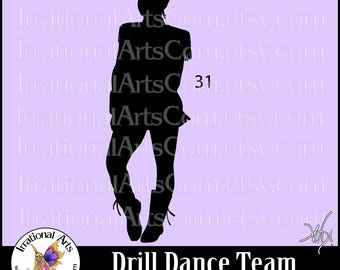 Drill Dance Team Silhouettes Pose 31 - 1 EPS & SVG Vinyl Ready files and 1 PNG digital file and commercial license [Instant Download]