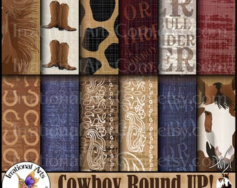 Cowboy Round Up! set 1 - digital papers cowboy boots bandana horses horse shoes 300dpi jpg files [ INSTANT DOWNLOAD ]