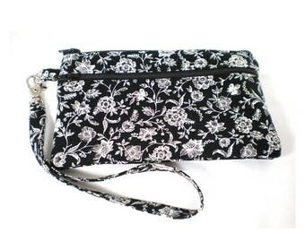 Summer Clearance Smartphone iPhone Cell Phone Case, Double Pocket Wristlet, Detachable Strap, Black and White Small Floral