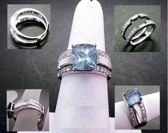 Reserved listing for Jeremy 18K white gold wedding wrap for 9x9mm cushion Aquamarine