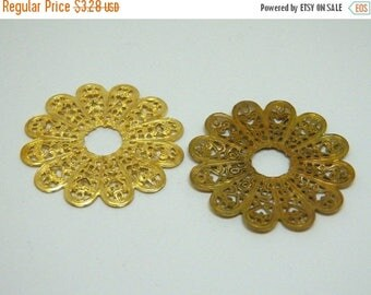 On Sale Vintage Round Gold Plated Scalloped Petal Filigree Stamped Finding  38mm (1)