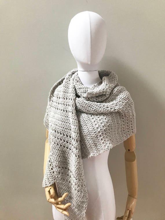 Organic Merino Wool Triangle Wrap Shawl : pale gray