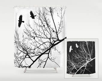 Crows and Trees Fabric Shower Curtain, Flying Birds in Branches Silhouette Black and White Graphic, Goth Gothic Themed Modern Home Decor