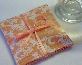 Mug Rugs/Coasters ,Set of 4, PEACH - WHITE Print,  Fabric,  Handmade, Hostess Gift, FREE Shipping in USet