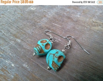 25% off Summer Sale Turquoise Sugar Skull Earrings Howlite