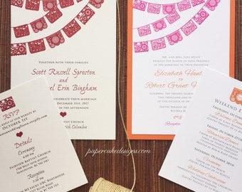Papel Picado Wedding Invitations / RSVP Postcard Details Enclosure Cards /  Destination Fiesta