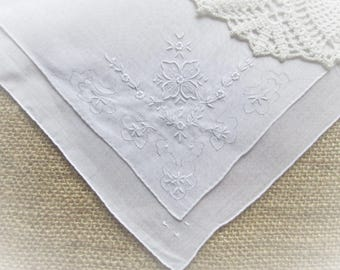 Vintage Handkerchief Hand Embroidered White Linen Antique Hankie Hand Rolled Hanky MINT Unused Wedding Bridal Gift