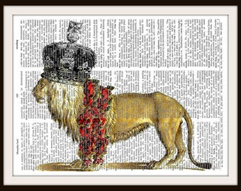 King Lion --Vintage Dictionary Art Print---Fits 8x10 Mat or Frame
