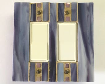 Eggplant Light Switch Cover, Decorative Switch Plates, Outlet Cover, Dimmer Switchplate, Switch Plate Covers, Stained Glass Mosaic, 8671