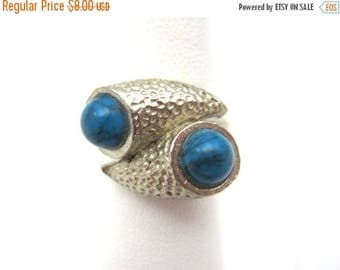 OnSale Vintage Turquoise Ring - Adjustable - Faux Turquoise Costume Jewelry