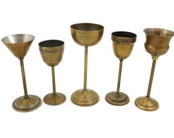 Cordial Glasses - Set of Five Pedestal Shot Glasses Brass Finish