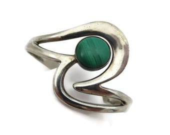 Malachite Bracelet - Sterling Silver Taxco Mexico Bangle Modernist Jewelry