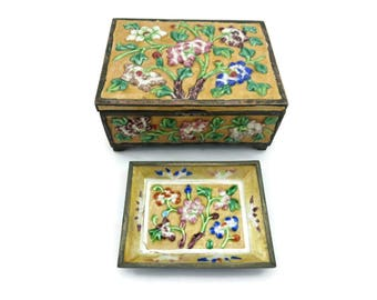 Chinese Enamel Box - Yellow Colorful Chrysanthemum Flowers Cigarette Box plus Matching Ashtray