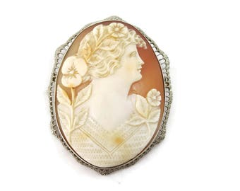 14k White Gold Cameo Brooch Necklace Pendant - Large Fine Jewelry Filigree Woman with Flowers Cameo Jewelry