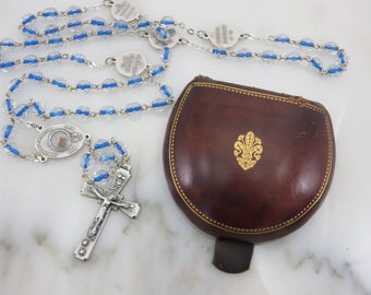 Italian Leather Box - Gold Tooling Florentine Fleur de Lys Clamshell Rosary Case