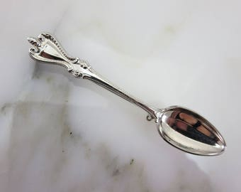 Silver Spoon Brooch - Utensil, Figural, Whimsical, Mid Century, Costume Jewelry, Cook Chef Foodie