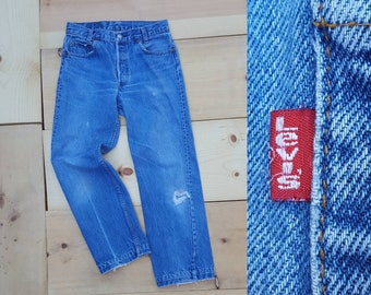 "Vintage Levi's 701 Jeans // Vtg 80s Made in the USA Slim Student Fit Distressed Faded Button Fly Cropped Jeans w/ Holes + Mends // 29"" waist"