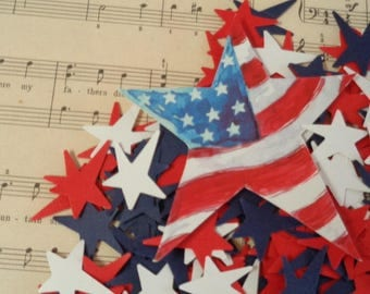Red White & Blue Star Confetti  Fourth of July Patriotic Party