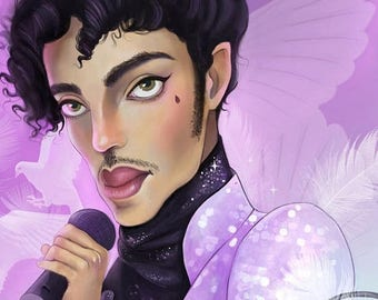 Prince 8X8 Print | when doves cry, prince art, prince fan, purple rain, fan art | by Meluseena