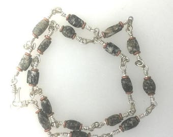 OnSale Ancient Granite Beads and Sterling Silver Necklace