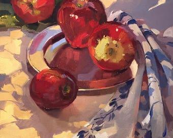 "Art painting plein air still life ""Dappled Light"" original oil by Sarah Sedwick 12x16"""