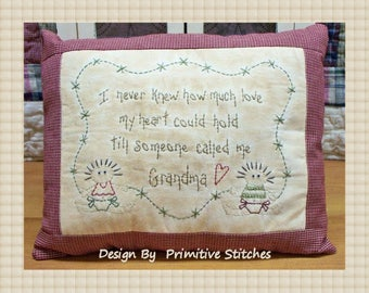 Someone Called Me Grandma--Primitive Stitchery E-PATTERN-by Primitive Stitches-Instant Download