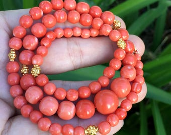 "18k Solid Yellow Gold Japanese Momo Coral Necklace 19"" Necklace"